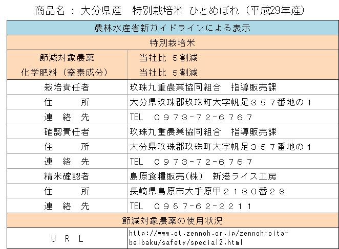 大分県産特別栽培米ひとめぼれ29年産