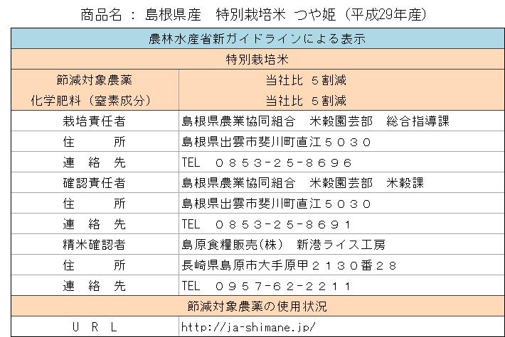 島根県産 特別栽培米つや姫29年産